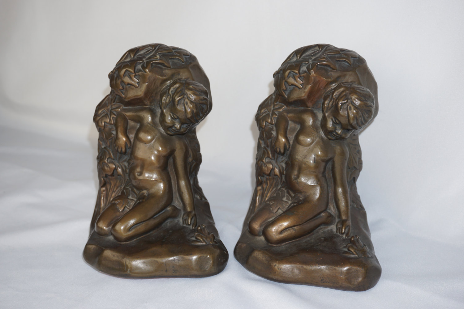 Armour bronze co clad boy with frog bookends 1920s signed s morani dealer of antiques - Armor bronze bookends ...