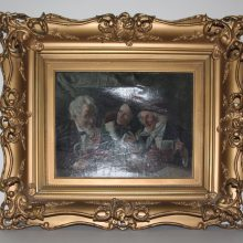1800s Ornate Rococo Gesso Gilted Layered Frame with Oil from M Sauret