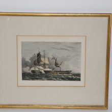 1834 Engraving Capture of the Guerriere by the Constitution Hand Colored