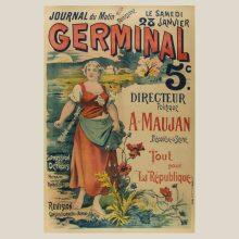 1890 Journal du Matin Germinal  Original Poster on Linen 59 × 39 inches