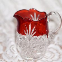 1890s Tarentum Glass Company Diamond Teardrop Atlanta Creamer Small Pitcher Ruby Flashed