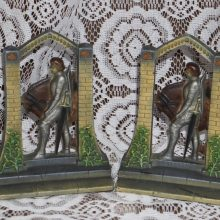 1920s Cast Metal Art Craft Sir Galahad Painted Bookends,Cast Iron,Medieval,Knight
