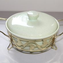 1950 Vintage Bauer Light Green Speckled Covered Casserole Metal Stand