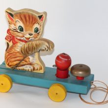 1950s Fisher Price no 499 Kitty Bell Vintage Wood Pull Toy