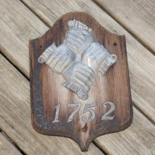 Antique Philadelphia Contributionship Firemark Fire Fighter Clasped Hands