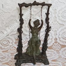 Auguste Moreau Signed Bronze Statue Girl Swinging Art Nouveau