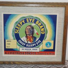 Beautifully Framed Original Sleepy Eye Eggs Crate Label