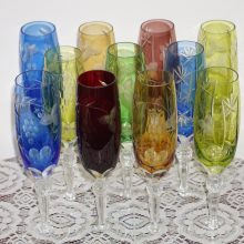 11 Vintage Nachtmann Traube Bohemian Hand Cut Champagne Glass Faceted Stems