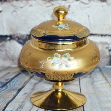 Beautiful Bohemian Czech Cobalt Gold Enamel Covered Candy Dish