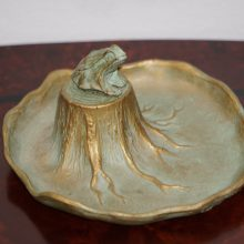 Bronze McClelland Barclay Tree Stump Pond Trinket Tray with Frog Art Deco