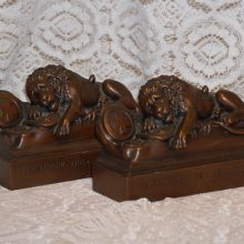 Jennings Bros Bronze Lion of Lucerne Bookends 1930s w Original Label