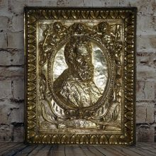 Large Brass Repousee French Michel-Ange Michelangelo Cherubs Framed 3d Relief
