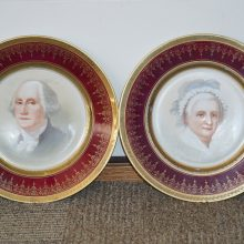 Pair of Sevres Portrait Plates George and Martha Washington Gold