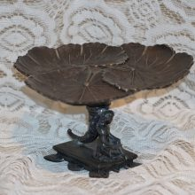 Reed Barton Victorian Silver Plated Nymph Calling Card Pedestal Tray Lillies Maiden