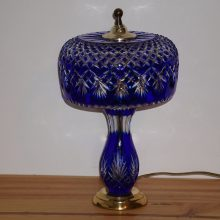"Signed Dresden Cobalt Blue Brass Cut to Clear Crystal 16"" Electric Table Lamp"