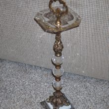 Vintage Hollywood Regency Crystal Smoking Stand Ashtray Brass Marble