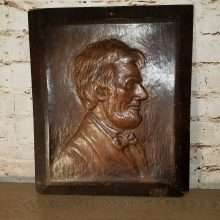 Embossed Oak Portrait Profile Abraham Lincoln Plaque Signed CH