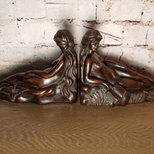 Old Carved Wood Reclining Goddess Woman Bookends Blackforest
