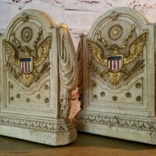 Vintage White Painted Great Eagle Seal Syroco Bookends