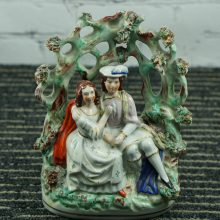 19th c Staffordshire Pottery Romeo Juliet Couple Sitting in Arbor