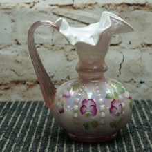 Fenton Beaded Pink Pitcher Ewer White Cased Painted Pansies Signed Bill Fenton